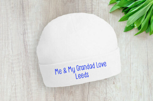 Leeds Me and My Grandad Love Baby Beanie Hat Blue Text Gift Baby Shower