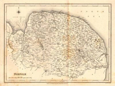 Antique County Map Of Norfolk By Walker & Creighton For Lewis C1840 Old