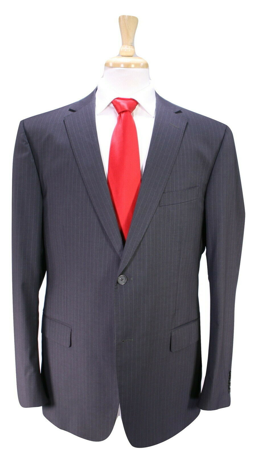 Z ZEGNA   Recent Dark Striped 2-Btn Modern City Fit 2-Btn Wool Suit 44R