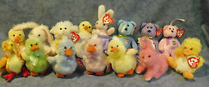 W-F-L TY Basket Beanies Rabbit Duck Chick Teddy Selection Stuffed Toy Easter