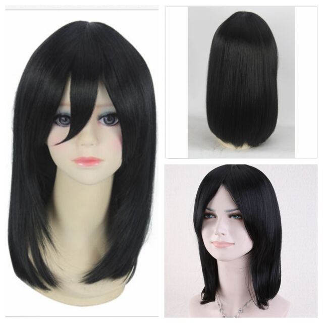 Women's Straight  Medium Cosplay Synthetic Hair Costumes Short Anime Black Wigs