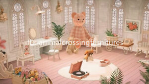 Pinky-Teddy-Bear-Room-Furniture-Set-35-PCs-New-Horizons-Original-Design