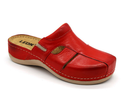 LEON 925 Ladies Women Leather Slip On Mules Clogs Slippers Sandals Red New UK