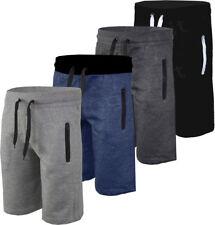 Mens Plain Gym Fleece Jogger Shorts / 3/4 Elasticated waist Running Zip Pockets