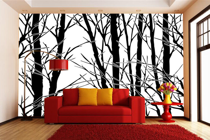 3D Branch Silhouette 2 Paper Wall Print Wall Decal Wall Deco Indoor Wall Murals