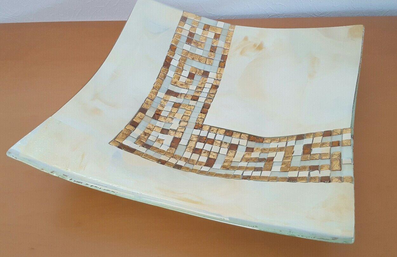 Glasschale mit EchtGold-Mosaik - maltesische Glaskunst