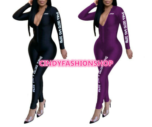 USA Women Long Sleeve Letter Print Zipper Skinny Play suit Jumpsuit Rompers