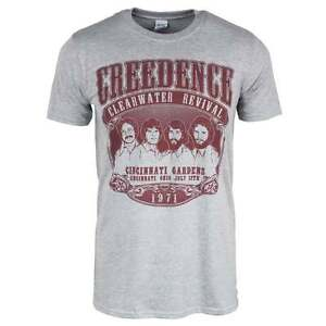 Mens-Retro-Creedence-Clearwater-Revival-1971-Rock-Grey-T-Shirt-CCR-NEW