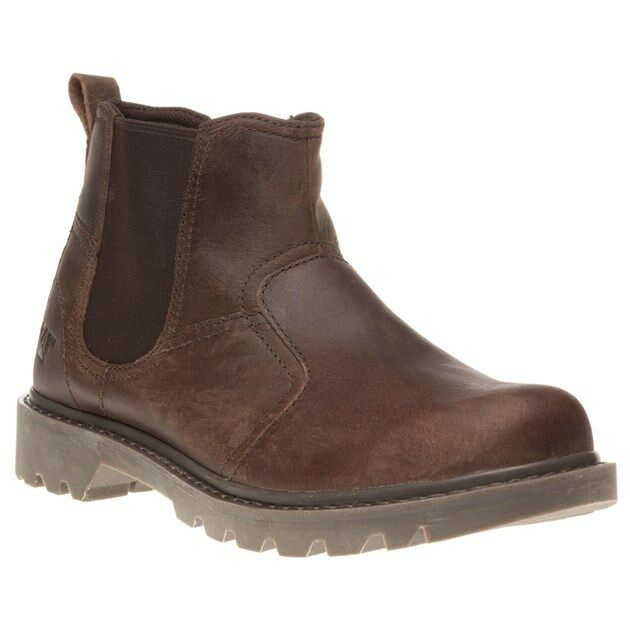 New Mens Caterpillar Brown Thornberry Leather Boots Chelsea Pull On