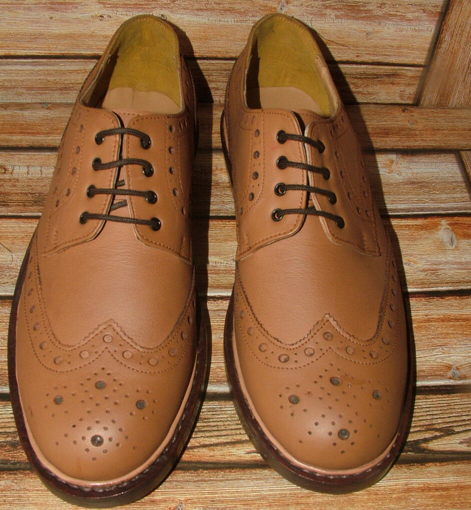 New Mens Church Walk Light Tan Triple Welt Leather Brogue shoes Size 9