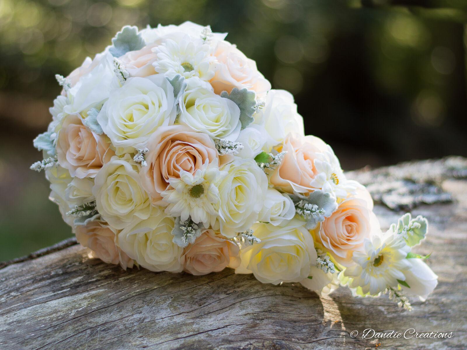 Bouquet da Sposa a goccia in SETA rosa-PESCA rosa-PESCA rosa-PESCA & Ivory nozze FIORI-NUOVO 2017 5026ac