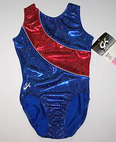 Gk Elite Leotard Usa Olympics Blue Hologram Red Insert Silver Dots Women