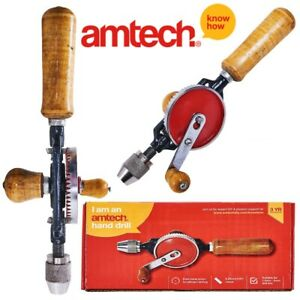 Hand Twisted Drill AMONIDA Aluminum Alloy Hand Drill Horn for Drilling Wood