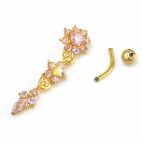 Beauty Crystal Flower Dangle Navel Belly Button Ring Bar Body Piercing Jewelry