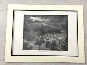 1870-Jewish-Print-Moses-on-Mount-Sinai-Ten-Commandments-Victorian-Original