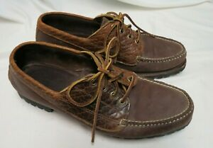 Eastland-Men-039-s-Brown-Leather-Vibram-Trail-Moc-shoes-12D-Made-in-Maine-USA