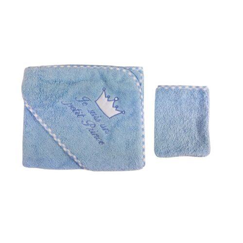 NEUF Parure  bain bébé cape de bain + gant Coton je suis un prince bleu