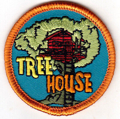 """""""TREE HOUSE"""" - PLAYHOUSE - CHILDREN - TREES - Iron On Embroidered Patch"""