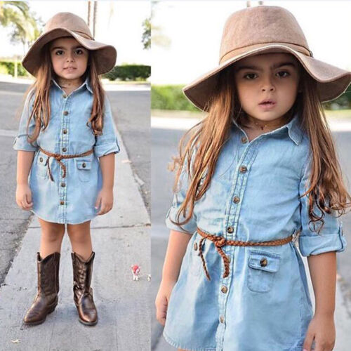 Toddler Kids Baby Girl Long Sleeve Shirt Dress Denim Daily Casual Party Dresses