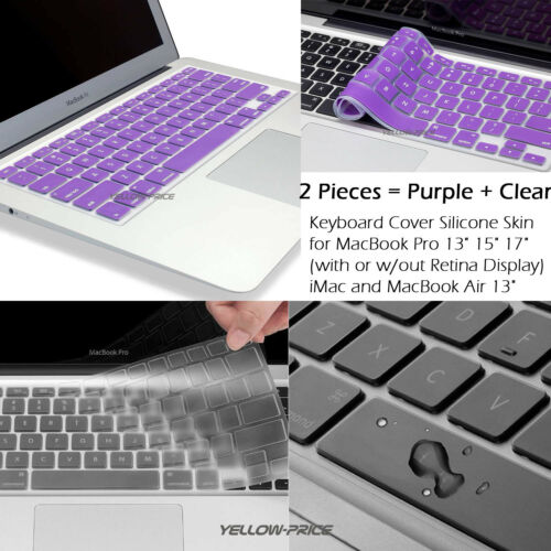"""2x For Macbook Mac Air Pro 13/"""" 15/"""" 17/"""" Silicone Keyboard Cover Soft Protector US"""