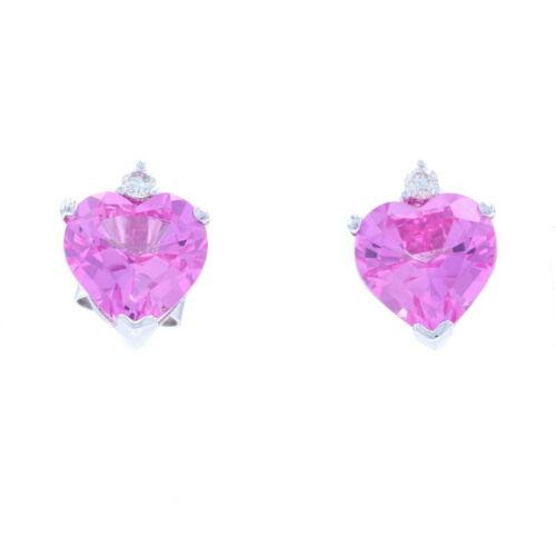 10k Halo 6.25ctw White Gold Synthetic Pink Sapphire /& Diamond Pendant