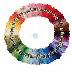 Lot of 100 Cotton Cross Floss Stitching Thread Embroidery Skeins Random Color