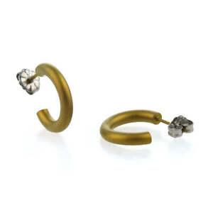 Ti2 Titanium 12mm Hoop Earrings - Tan Beige KRGJA