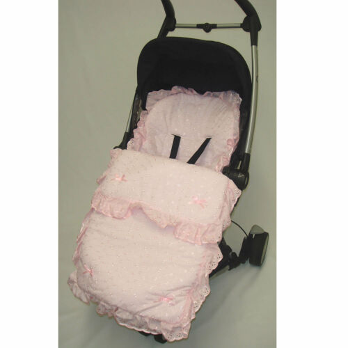 BEAUTIFUL FRILLY BRODERIE ANGLAISE FOOTMUFF// COSY TOES BABYSTYLE OYSTER PRESTIGE