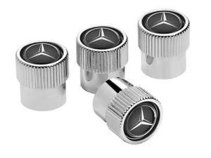 Genuine mercedes benz set of 4 chrome black valve caps for Mercedes benz valve stem caps