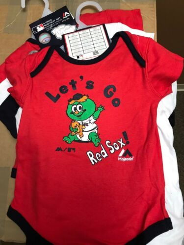 NWT BOSTON RED SOX 3 PIECE BODYSUIT SET 12 MONTH