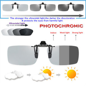 224a4bc8465 Image is loading Photochromic-Polarized-Clip-On-Sunglasses -UV400-Transition-Lens-