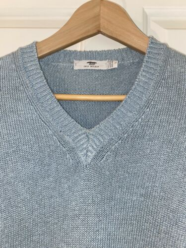 INIS MEAIN made in ireland light blue heavy v-neck