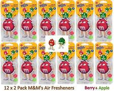 24 x M&M's Air Fresheners Berry Apple Car Home Office Hanging Fragrance Freshner
