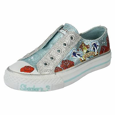 Girls ACEY DEUCY Blue Slip On Shoes By Skechers £19.99