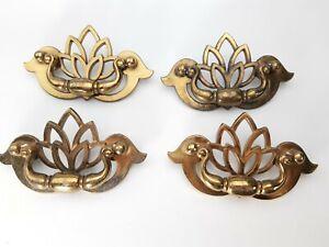 Vintage 4 KBC Drawer Pulls Cabinet Bail Handles Tulip Floral Brass N 18794 -4