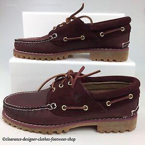 Timberland-Classique-Chaussures-Bateau-Heritage-3-Eye-Premium-Bordeaux-Homme-Neuf-RRP-105