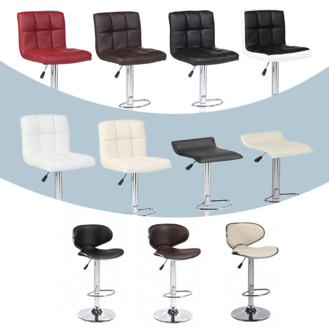 Astounding Adjustable Set Of 2 Bar Stools W Back Leather Counter Height Swivel Pub Chairs Cjindustries Chair Design For Home Cjindustriesco