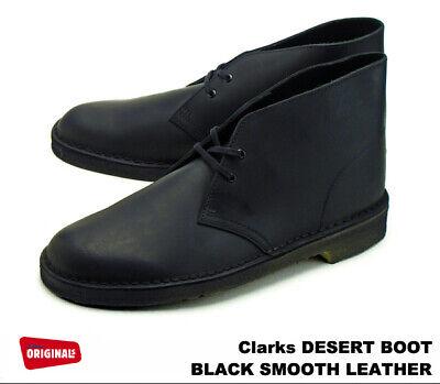 clarks desert boot black smooth