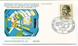 Alerte 1973 Hermann Oberth Gesellschaft Weltraums Hamburg Drucksache Bausteinkarte Nr82 TrèS Poli