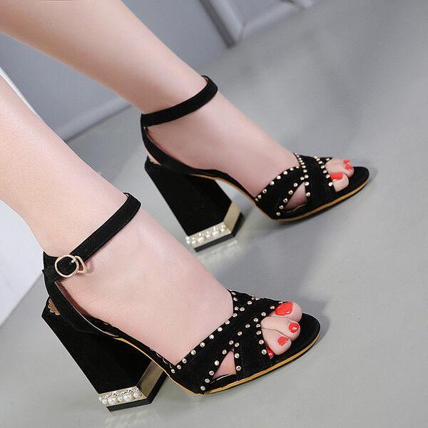 Decolte 11 cm eleganti comodi negro tacco quadrato  sandali pelle sintetica 9934
