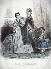GRAVURE ANCIENNE MODE 19e - JOURNAL DES DEMOISELLES - DECEMBRE 1861