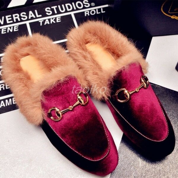Womens Loafers Slippers Velvet Rabbit Fur Lined Slip On Mules Shoes leather size
