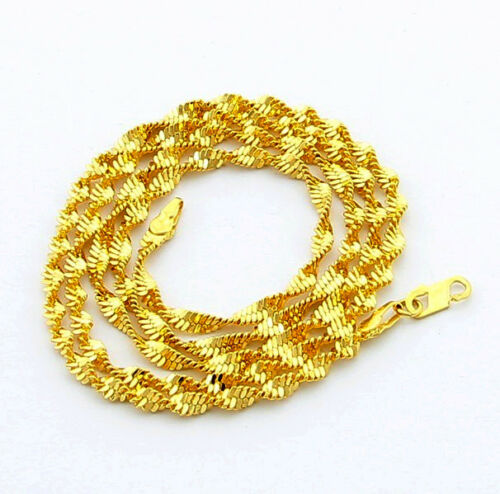 """24K Gold Plated Wrested Snake Chain Unisex Chain Necklace 3.5MM 24/""""  JP070"""