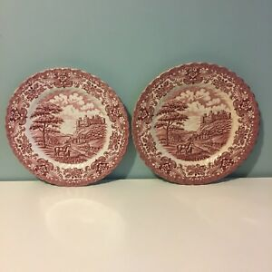 Vintage-British-Anchor-Red-White-2-Plates-9-034-Ironstone-Olde-Country-Castles
