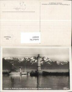 444607-Foto-Ak-Leuchtturm-Lindau-Bodensee-Hafen-Schiff-Dampfer