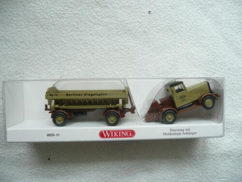Wiking 085049 Hanomag mit Muldenkipp-Anhänger Berliner Ziegelsplitt 1:87