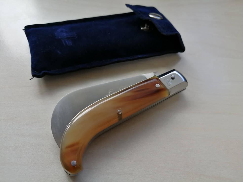 Coltello Coltello Coltello Tradizionale Roncola manico corno Frosolone couteau messer navaja knife fa4571