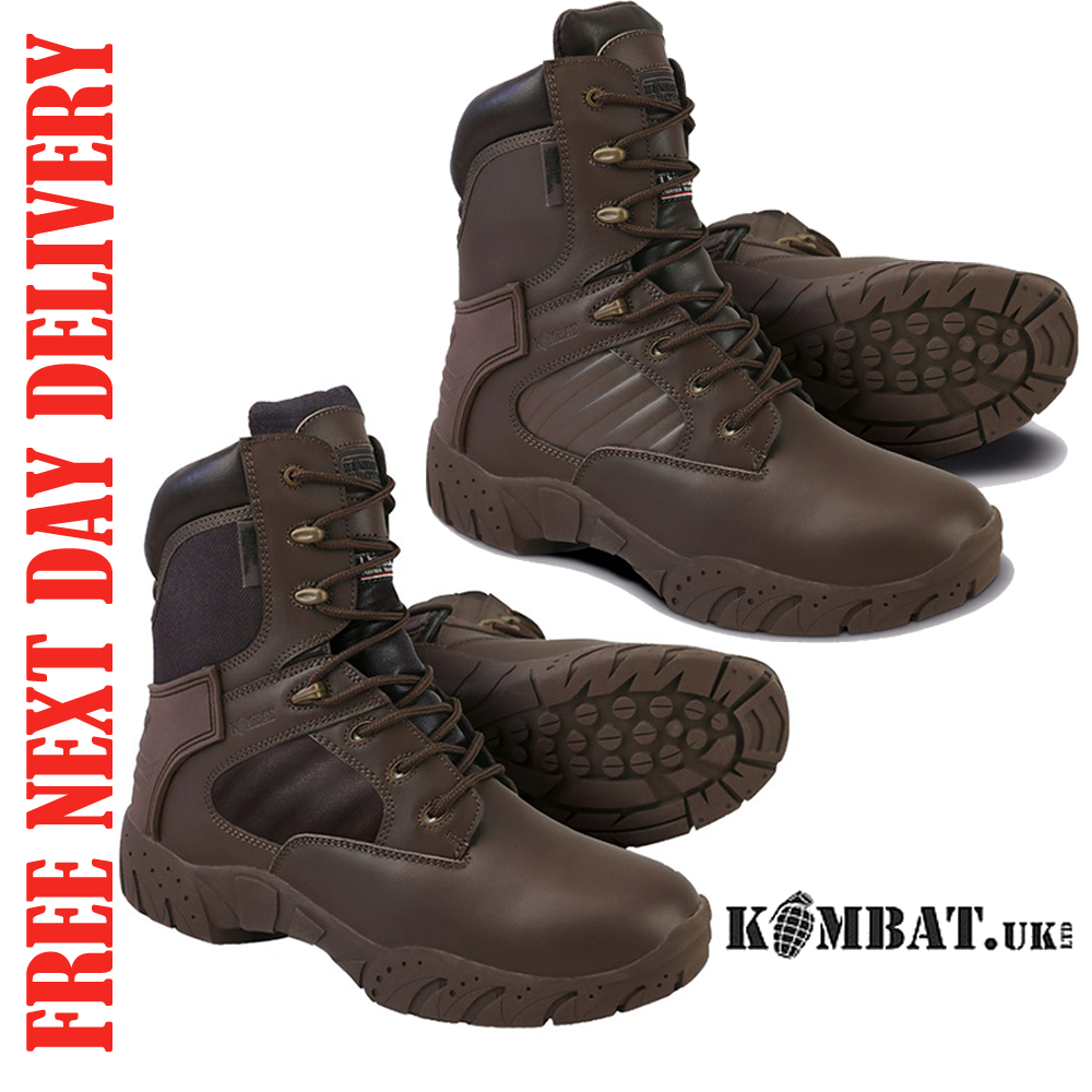 TACTICAL PRO braun Stiefel 50 50 OR FULL LEATHER KOMBAT UK MENS PATROL CADET ARMY