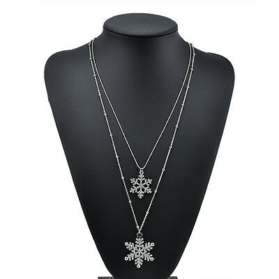 Hot Cute Women Long Snow Xmas Sweater Chain Double Players Necklace Jewelry Gift