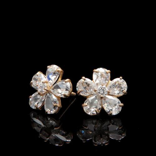 2CT Pear Cut Created Diamond Cluster Earrings 14K Yellow Gold Studs Screwback